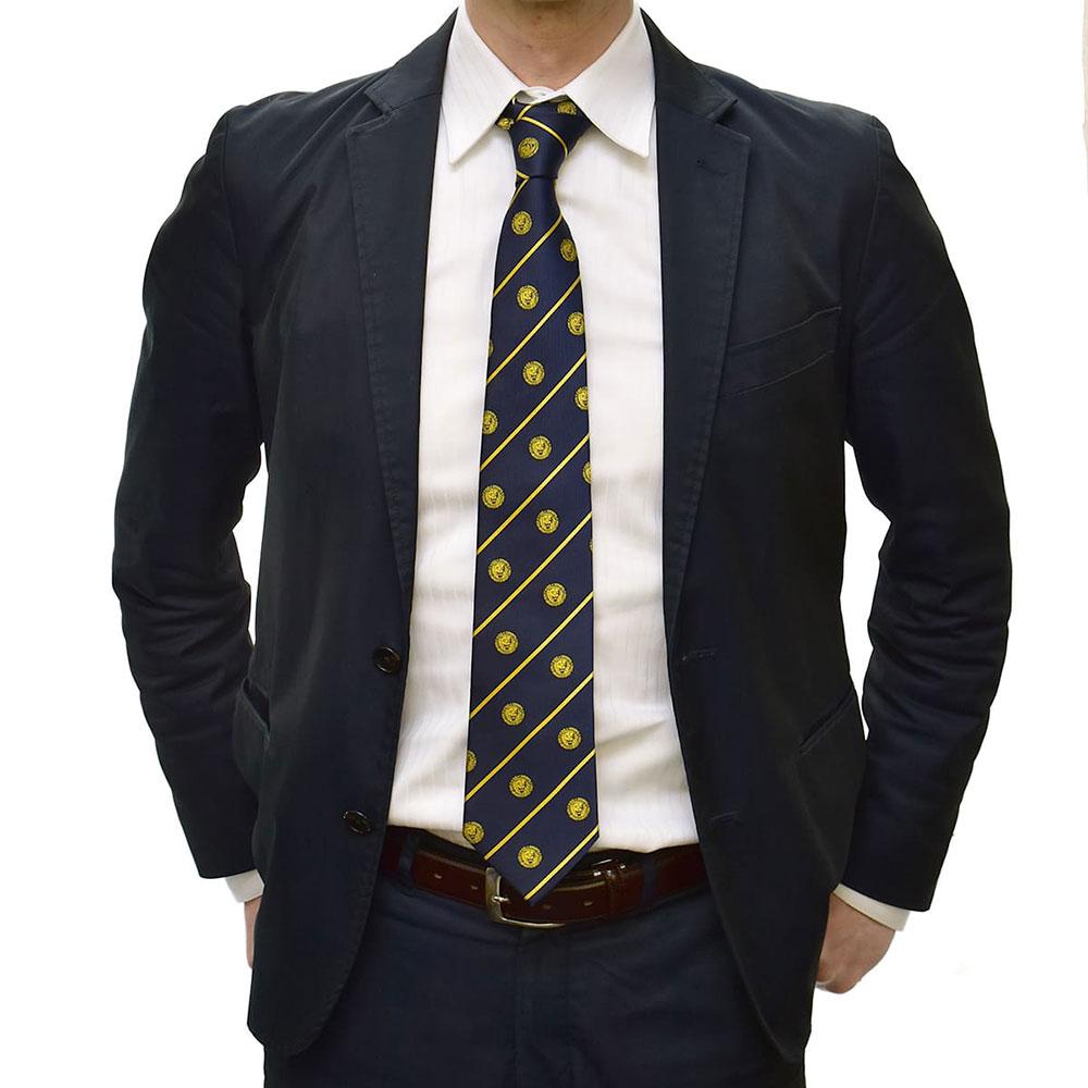 新日本プロレス シルクネクタイ ライオンマーク 濃紺×黄 黄ストライプ