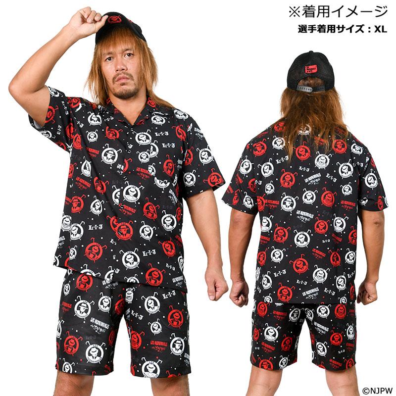 新日本プロレス 総柄アロハシャツ L・I・J モデル ブラック M
