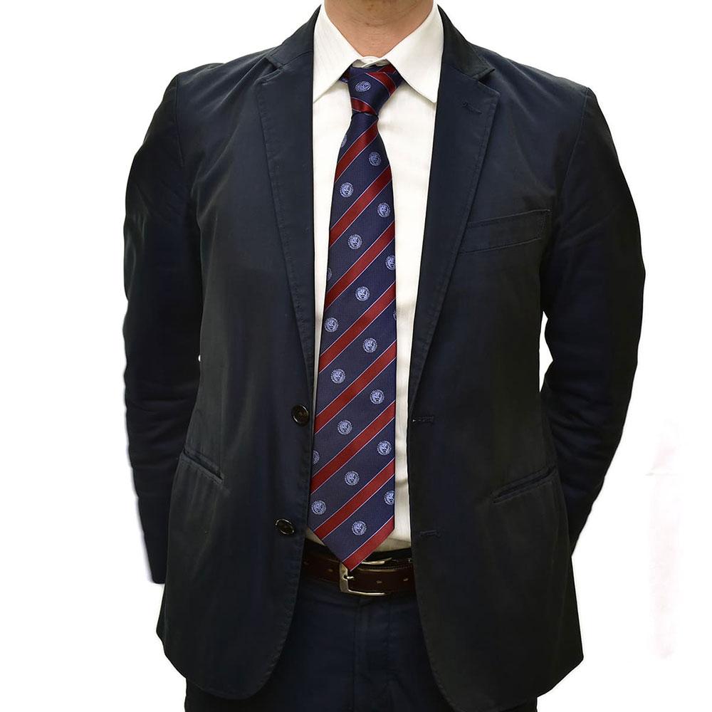 新日本プロレス シルクネクタイ ライオンマーク 濃紺×青 赤ストライプ