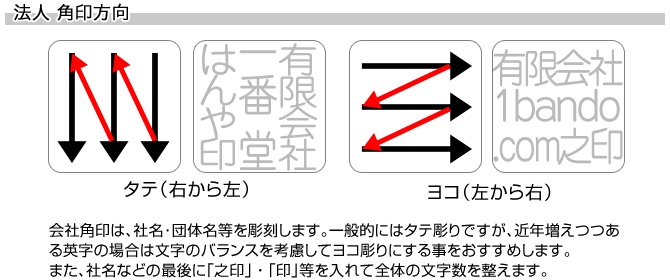 会社角印/牛角(色入)[天丸]/18mm角