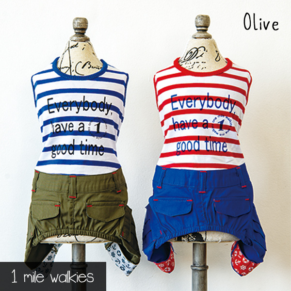 Olive(オリーブ)Stripe-T & Cargo  All in One