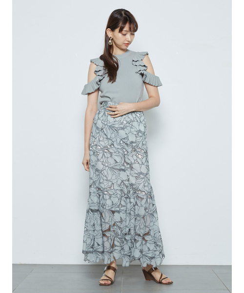 【SOLD OUT】SNIDEL スナイデル/カッティングレースマーメイドスカート SWFS211123