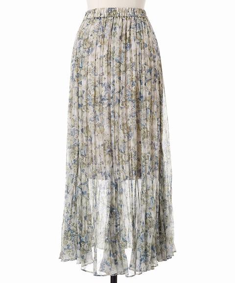 COCODEAL ココディール/フラワープリントワッシャープリーツスカート 71517009 【土日祝も16時まで即日発送(火曜以外)】