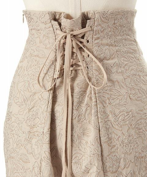 COCODEAL ココディール/ラインフラワー配色刺繍ハイウエストマーメイドスカート 71517052 【土日祝も16時まで即日発送(火曜以外)】