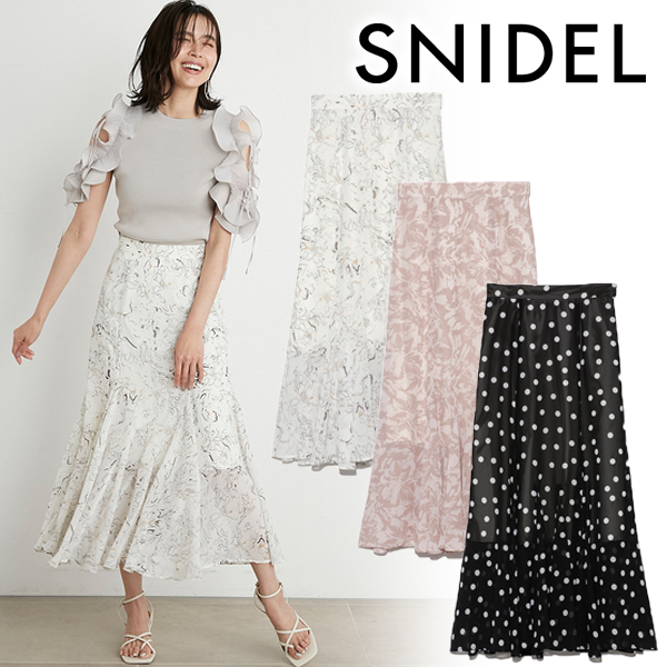 【SOLD OUT】【SALE30%OFF】SNIDEL スナイデル/ヘムフレアプリントスカート SWFS212077