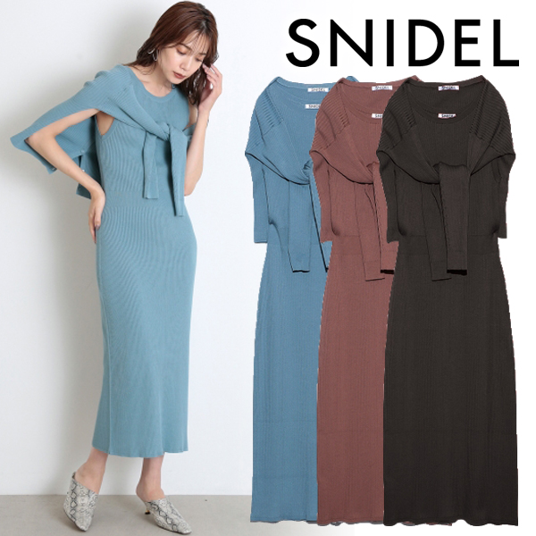 【SOLD OUT】\期間限定10%OFF/SNIDEL スナイデル /ノースリレイヤードニットワンピース SWNO204032