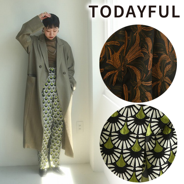 【SOLD OUT】TODAYFUL トゥデイフル Jacquard Slit Trousers 12020706