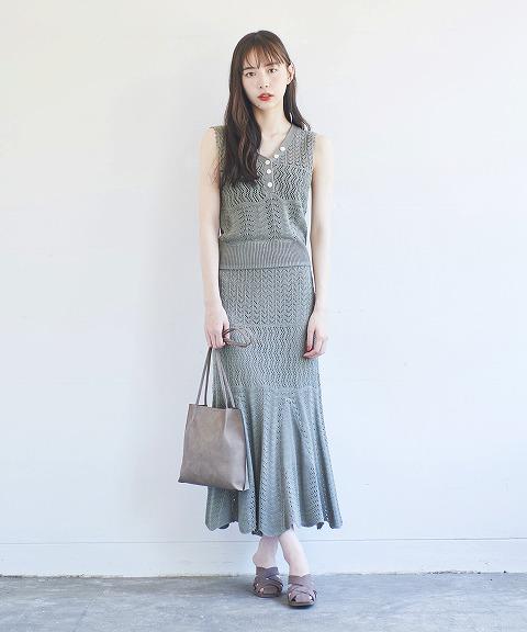 【SOLD OUT】COCODEAL ココディール/クロシェ編みマーメイドスカート 70537524