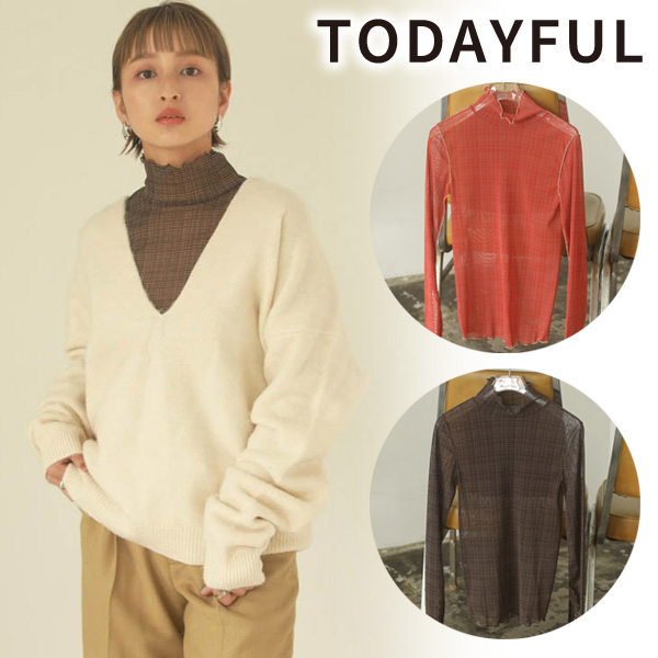 【SOLD OUT】ネコポス送料無料/TODAYFUL トゥデイフル/Sheer Check Tops 12020627