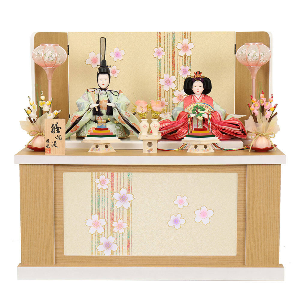 雛人形 お祝い ひな人形 収納飾り 親王飾り 2人飾り 二人飾り 親王収納箱飾り 収納箱 三曲屏風 木目 おしゃれ かわいい 可愛い コンパクト モダン