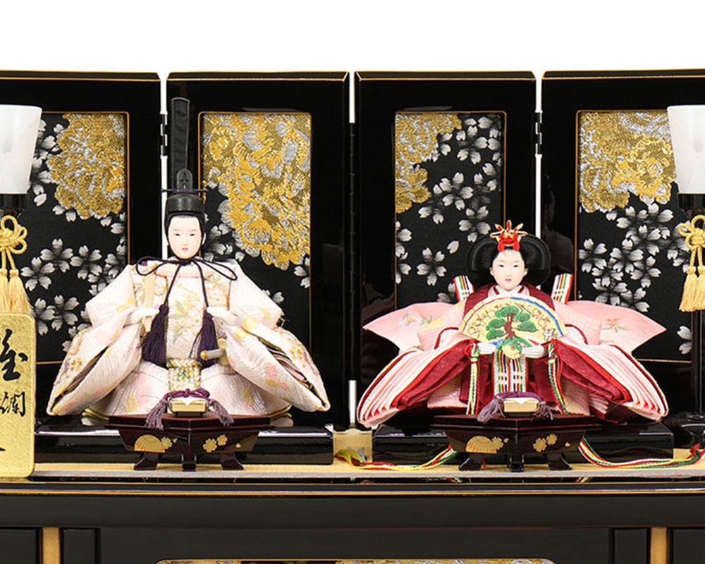 雛人形 お祝い ひな人形 収納飾り 親王飾り 2人飾り 二人飾り 黒溜塗 親王収納箱飾り 収納箱 金 黒 おしゃれ かわいい 可愛い 高級感のある コンパクト モダン