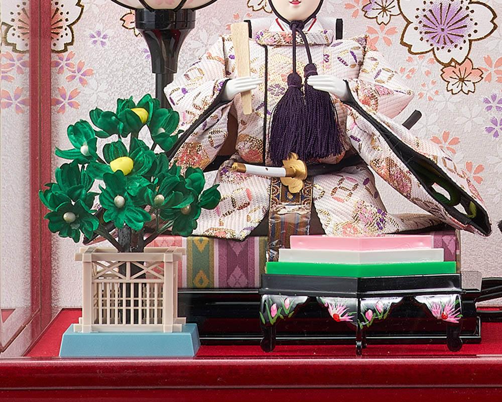 雛人形 ひな人形 お祝い ケース飾り 親王飾り 二人飾り 2人飾り 浮舟小三五親王飾アクリルケース オルゴール付き おしゃれ かわいい お洒落 可愛い コンパクト