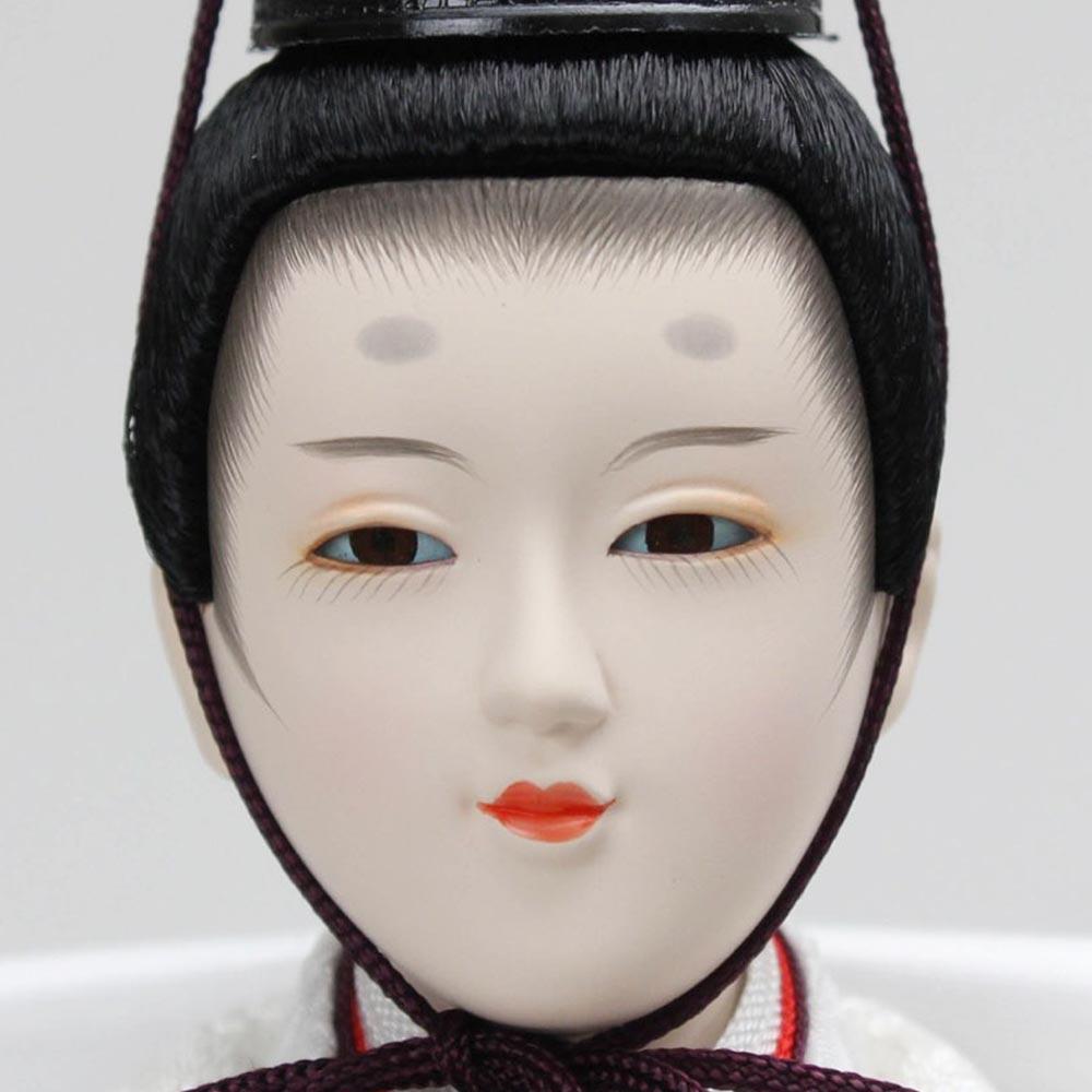 雛人形 お祝い ひな人形 平飾り 台付 白 親王飾り 2人飾り 二人飾り バック 銀箔 紬柄 おしゃれ かわいい 可愛い 清らか きれい 綺麗 コンパクト モダン