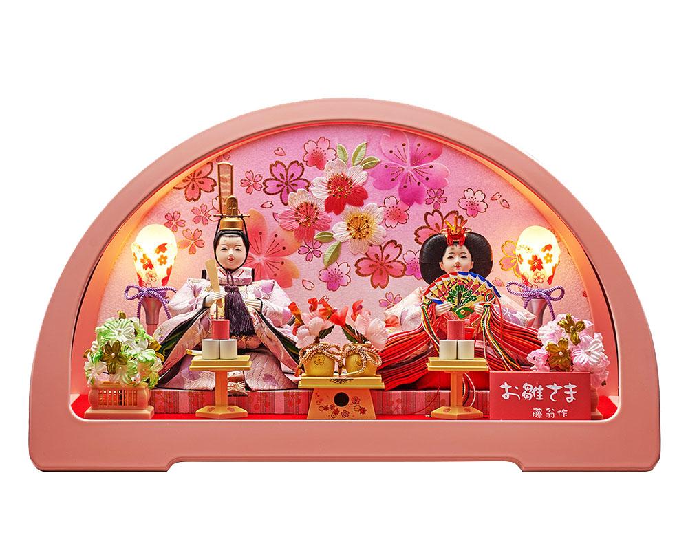 雛人形 ひな人形 お祝い ケース飾り 親王飾り 五人飾り 5人飾り 円華小三五親王飾 桃アクリルケース おしゃれ かわいい お洒落 可愛い コンパクト