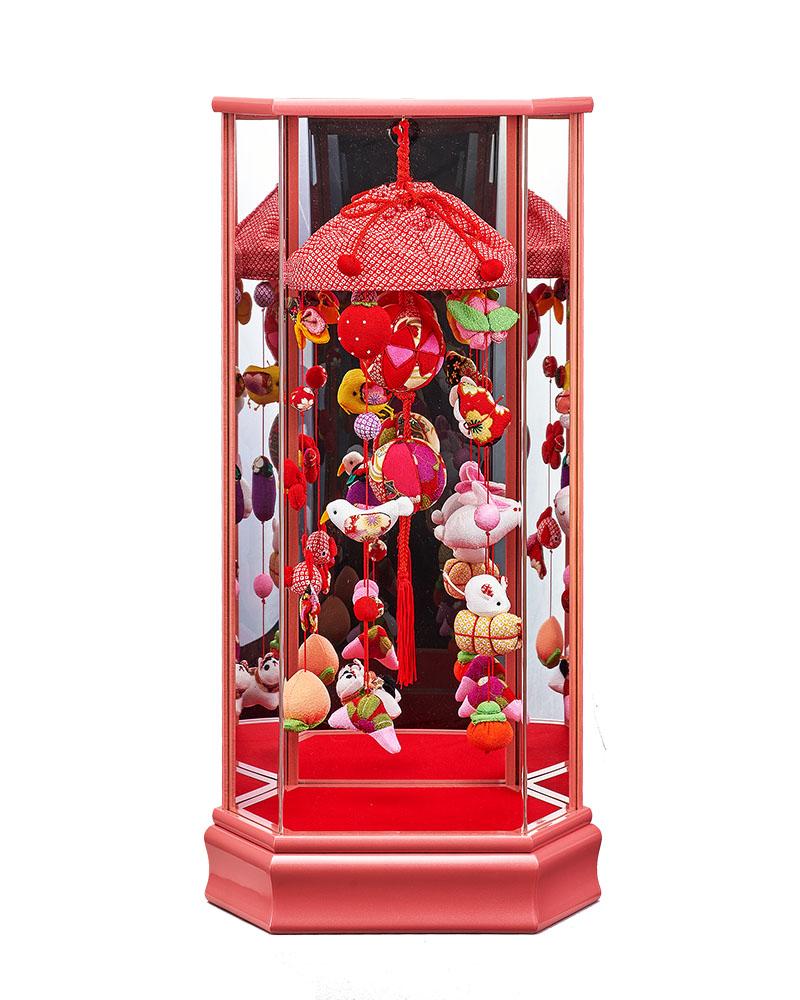 雛人形 ひな人形 お祝い ケース飾り つるし飾り 吊るし飾り 大 桃 Aアクリルケース おしゃれ かわいい お洒落 可愛い コンパクト