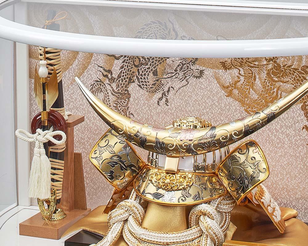 五月人形 5月人形 兜飾り ケース飾り 伊達政宗 白銀 白アクリルケース おしゃれ お洒落 かっこいい コンパクト
