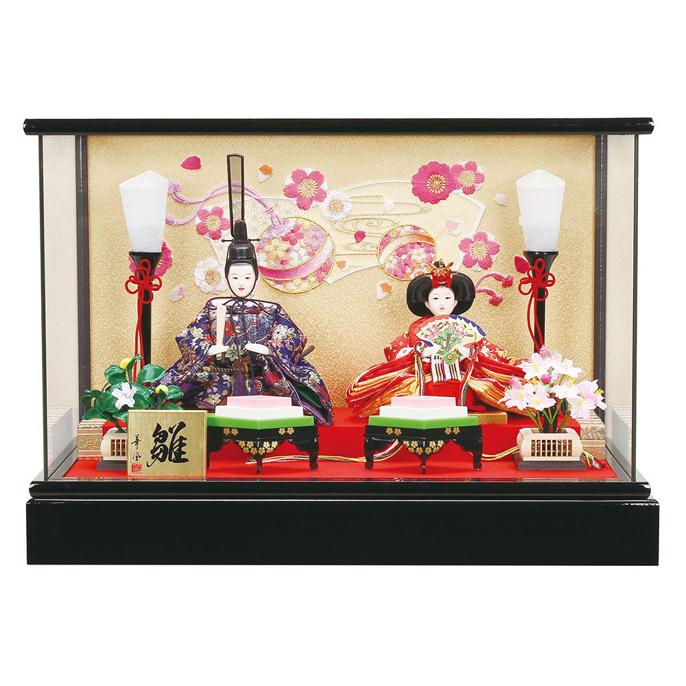 雛人形 お祝い ひな人形 ケース飾り 親王飾り ケース入り ガラスケース 黒 おしゃれ かわいい 可愛い コンパクト モダン