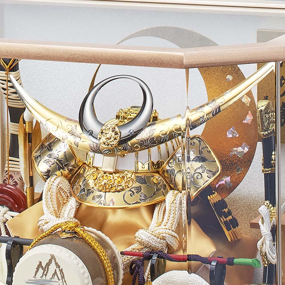五月人形 5月人形 兜飾り ケース飾り 上杉謙信 六角 白竜 オーク おしゃれ お洒落 かっこいい コンパクト