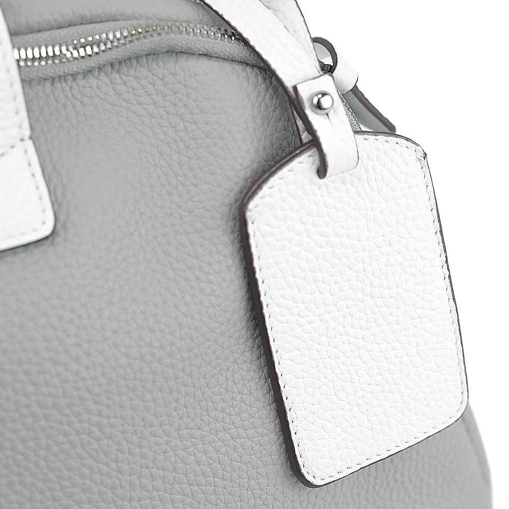 leather bicolor handbag