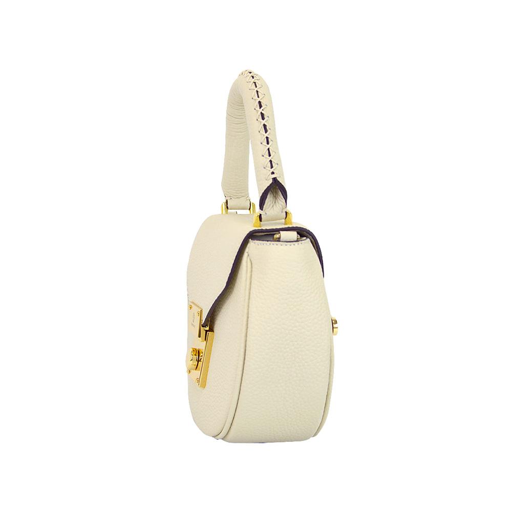 leather circle type mini handbag