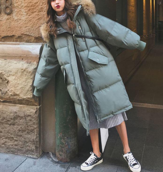 【3色】人工羽毛  ロングダウンコート 韓国スタイル ベンチコート
