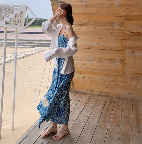 エスニック マキシワンピース バックデザイン 編み上げ ブルードレス