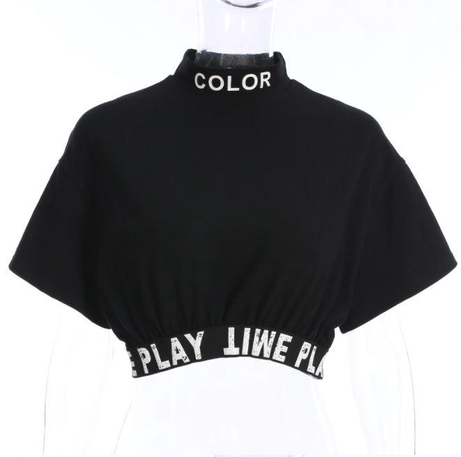 ロゴ スポーティー ミニTシャツ へそ出し