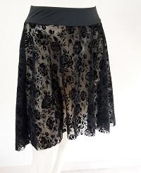 ブラックローズメッシュフラワープルオンスカート(フロッキー)
