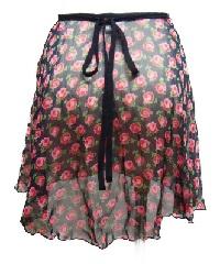 ローズプリント巻きスカート