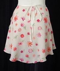 プリント(透け感無し)巻きスカート
