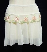 メッシュ プルオンスカート(刺繍レース付)