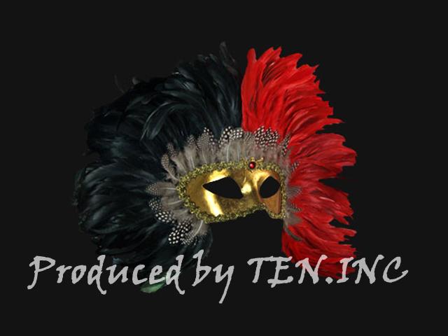 ベネチアンマスク Colombina Piume Reale Black/Red