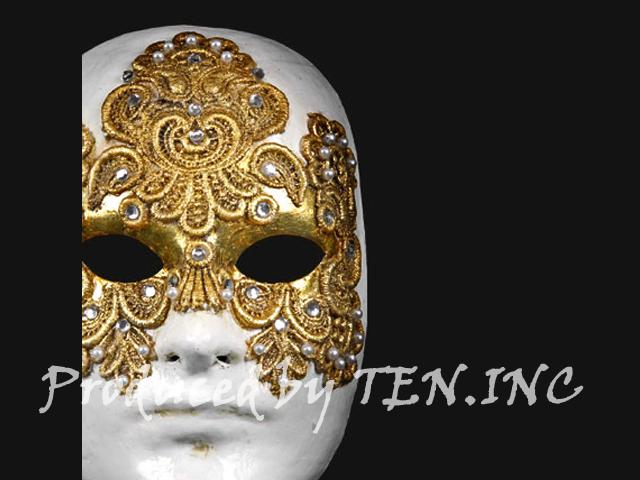 ベネチアンマスク Volto Macrame Maschile Gold