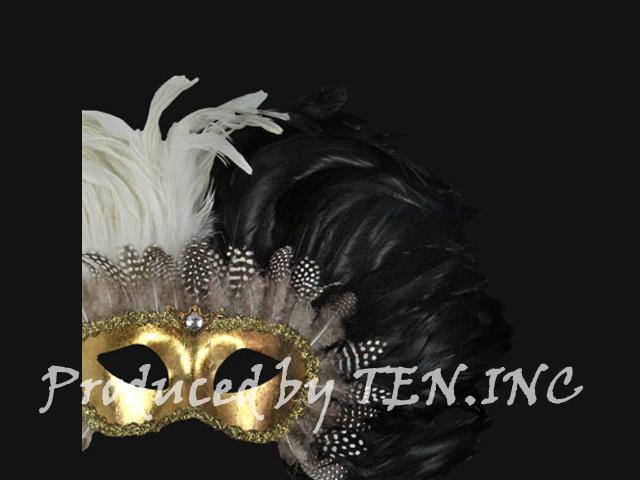 ベネチアンマスク Colombina Piume Reale Black/White