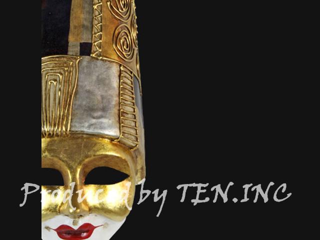 ベネチアンマスク Pulcinella Art Deco Black