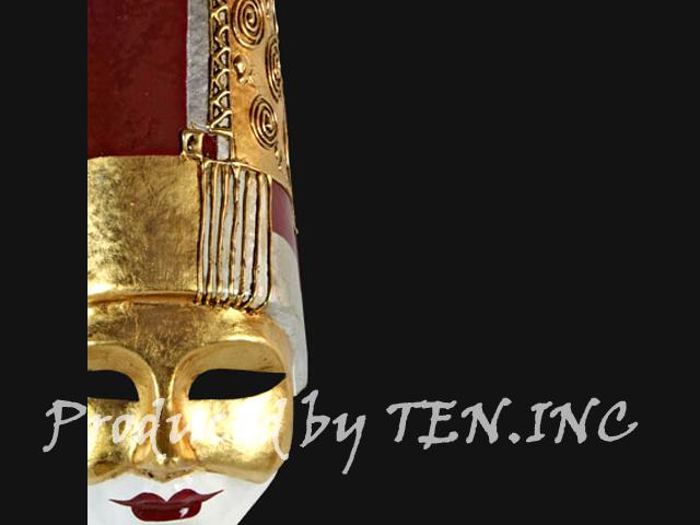 ベネチアンマスク Pulcinella Art Deco Red