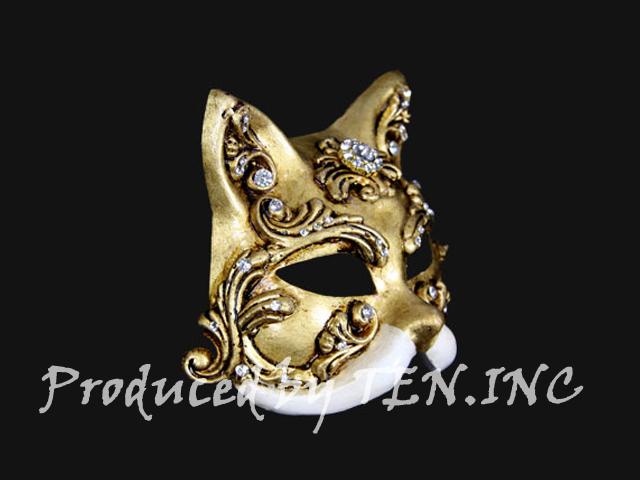ベネチアンマスク Gatto Barocco Craquele Gold