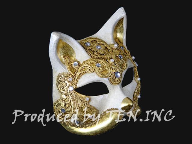 ベネチアンマスク Gatto Macrame Craquele Gold