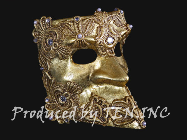 ベネチアンマスク Bauta Macrame Gold
