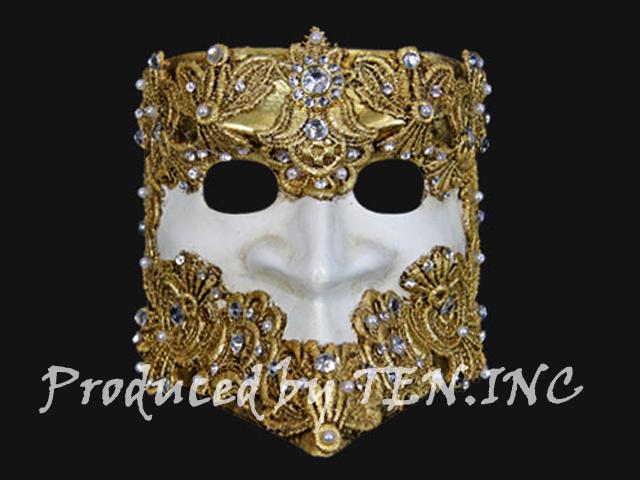 ベネチアンマスク Bauta Macrame Gold White