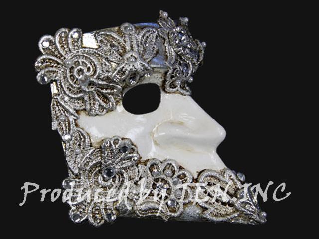ベネチアンマスク Bauta Macrame Silver White