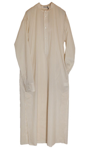 AURALEE/finx silk stripe long one-piece
