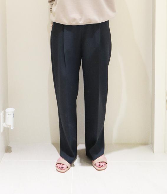 ATON/BACK SATIN TAPERED PANTS