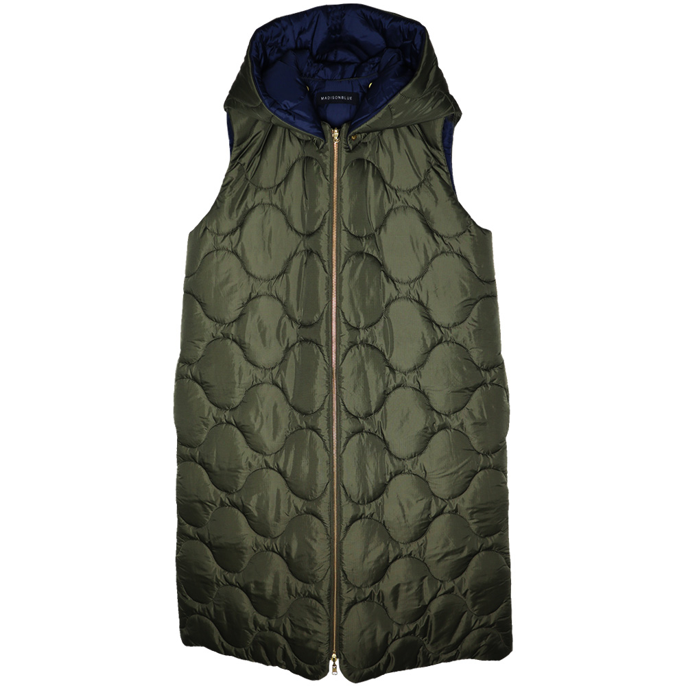 MADISONBLUE/QUILTING SLEEVELESS HOODIE CT
