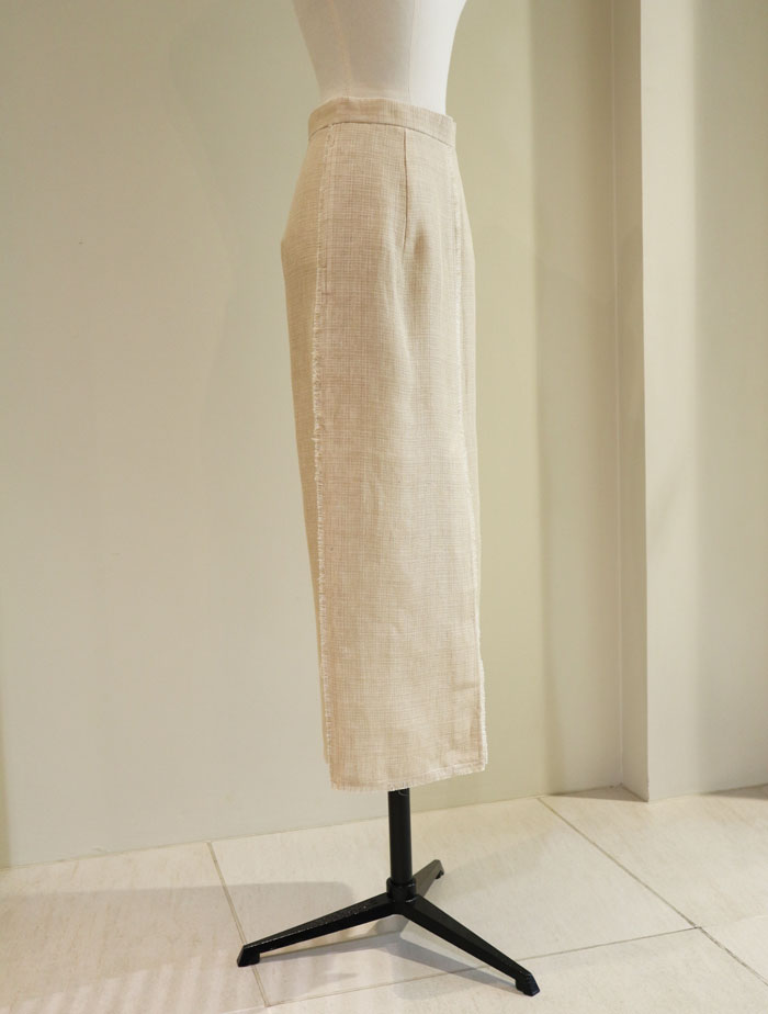 AURALEE/LINEN DOUBLE FACE FRINGE SKIRT