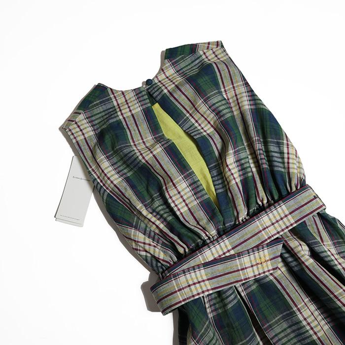 BLUEBIRD BOULEVERD/ Madras check Maxi dress
