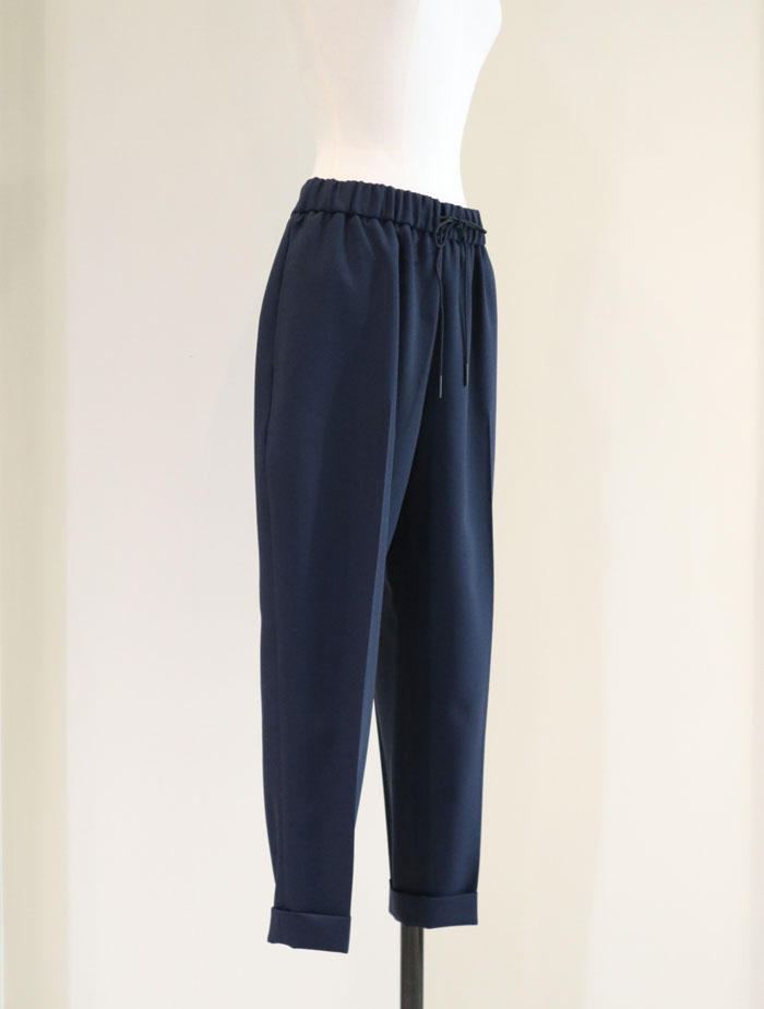 ATON/WOOL OXFORD CROPPED PANTS