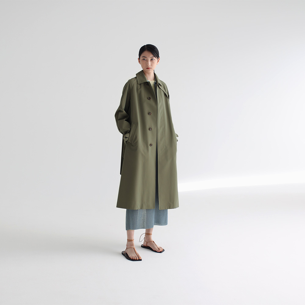 0AURALEE/WOOL MAX CANVAS CHAMBRAY SOUTIEN COLLAR COAT
