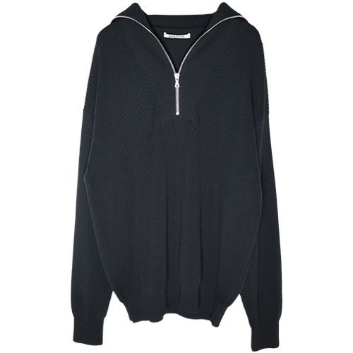 AURALEE/SUPER HARD TWIST RIB KNIT HALF ZIP P/O