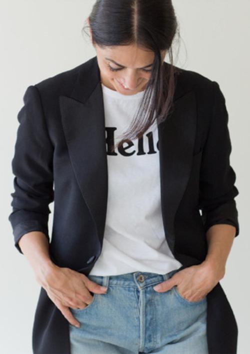 MADISONBLUE/HELLO CREW NECK TEE
